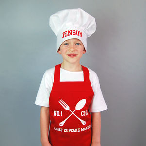 Personalised Children's Apron And Chef Hat Set - children's cooking