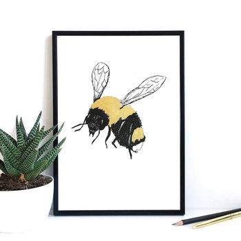 Bee Print With Hand Painted Gold Detail