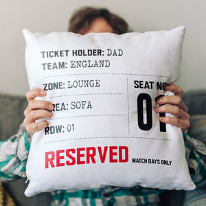 Match Day Seat Reservation Personalised Cushion - sports fan