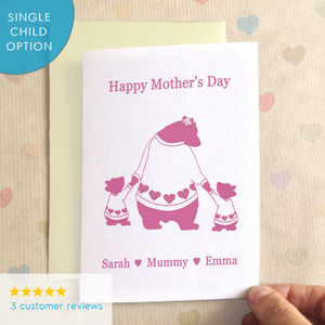 Personalised Bears In Jumpers Mother's Day Card