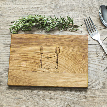 'Perfect Pair' Personalised Oak Wood Chopping Board