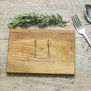 'Perfect Pair' Personalised Oak Wood Chopping Board - best valentine's gifts for her
