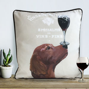 Red Setter Cushion, Dog Au Vin Wine Gift