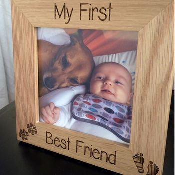 Photo frame dog and child best friends