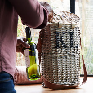 Personalised Willow Wine Carrier - for the couple
