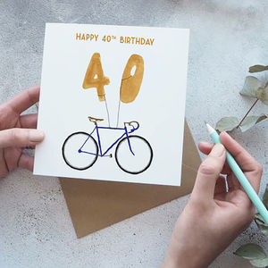 40th Birthday Bike With Balloons Card - birthday cards