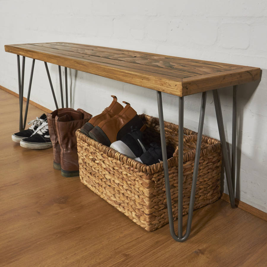Foyer Bench Zoo : Reclaimed industrial pallet hallway bench hairpin legs by