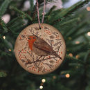 Christmas Robin Wooden Tree Decoration