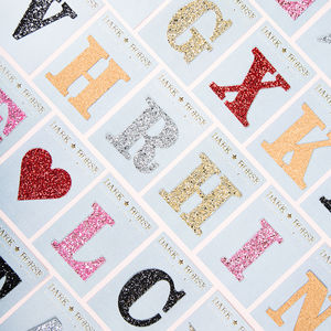 Alphabet Glitter Initial Sticker - christmas stickers