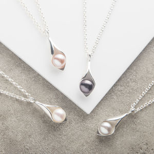Calla Lily Pearl Pendant - gifts for her sale