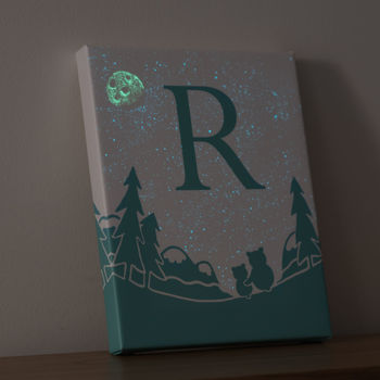Personalised Childs Glow In The Dark Galaxy Bear Canvas