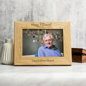Personalised Retirement Oak Photo Frame - new in home