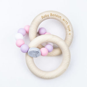 Rose Rattle Teether With Birch Rings - teethers