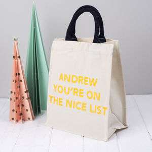 Personalised Christmas Gift Bag 'Nice List' - cards & wrap