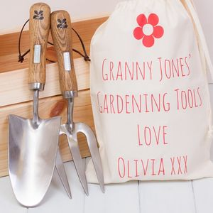 National Trust Garden Trowel, Fork And Personalised Bag