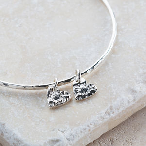 Personalised Silver Floral Hearts Bangle