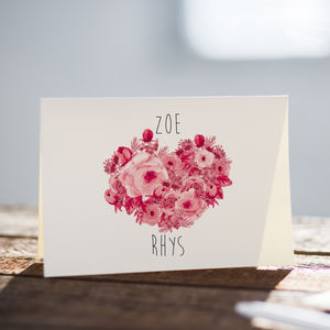 Personalised Wedding Card With Names And Heart - anniversary cards
