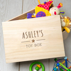 Large Engraved Wooden Children's Personalised Toy Box - home