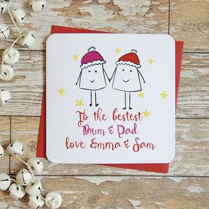 Bestest Mum And Dad Personalised Christmas Card