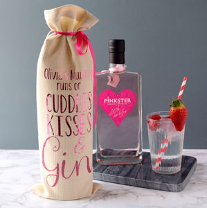 Personalised Mum Runs On Gin Bottle Bag - ribbon & wrap