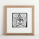 Personalised Woodcut Star Print For Teachers