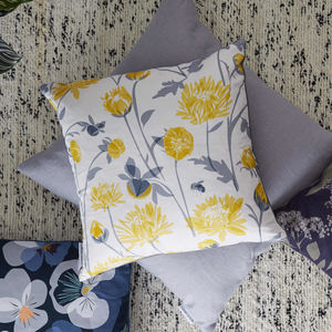 Yellow Chrysanthemum Flower Cushion - living room
