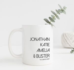 Personalised Favourite People Family Names Mug - personalised mother's day gifts