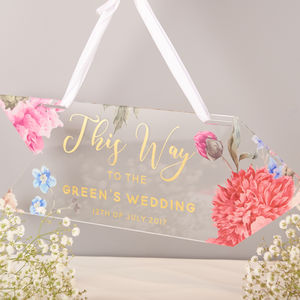 Personalised Floral And Gold This Way Wedding Sign - room signs