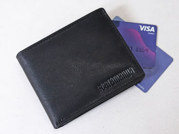 Personalised Black Men's Leather Wallet With Coin Pouch