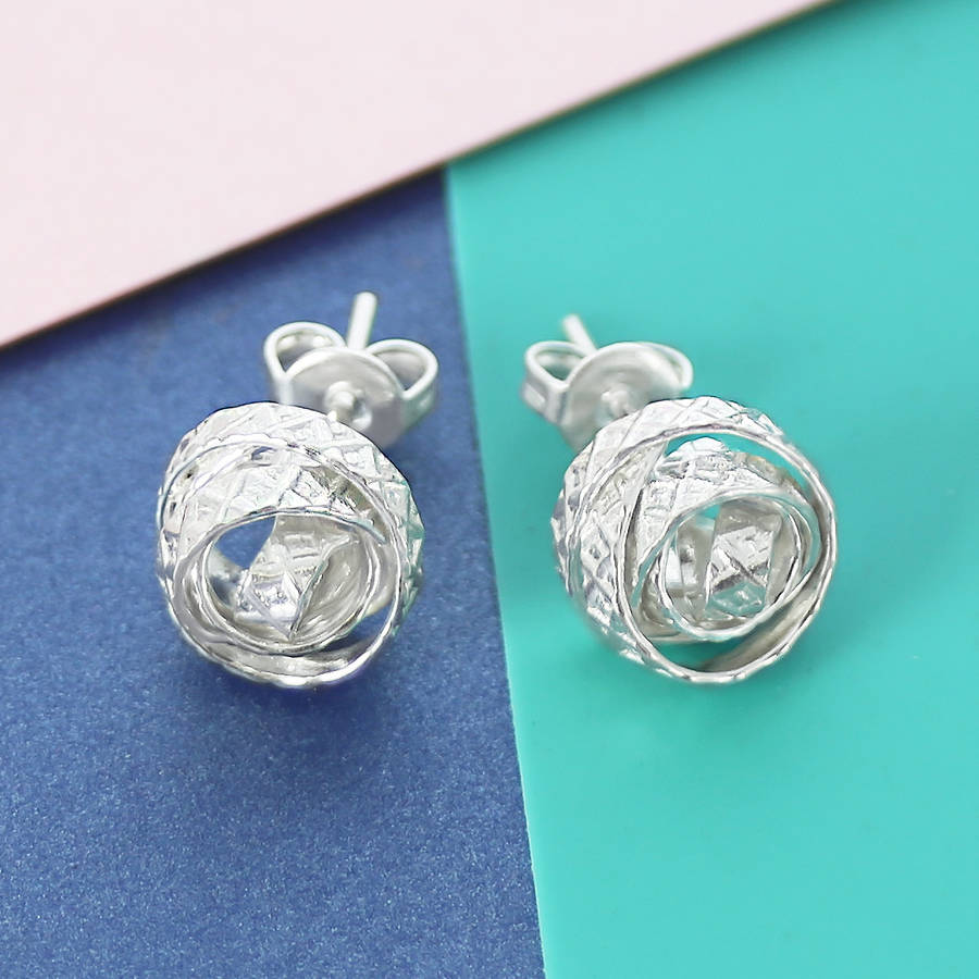 Engraved Silver Wire Wred Stud Earrings