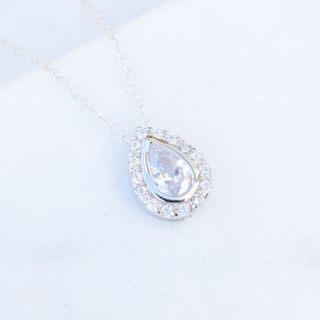 Silver Pear Shaped Pave Illusion Necklace