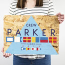 Personalised Nautical Flags Family Name Print On Wood