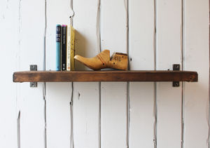 Industrial Wood And Steel Shelf - storage