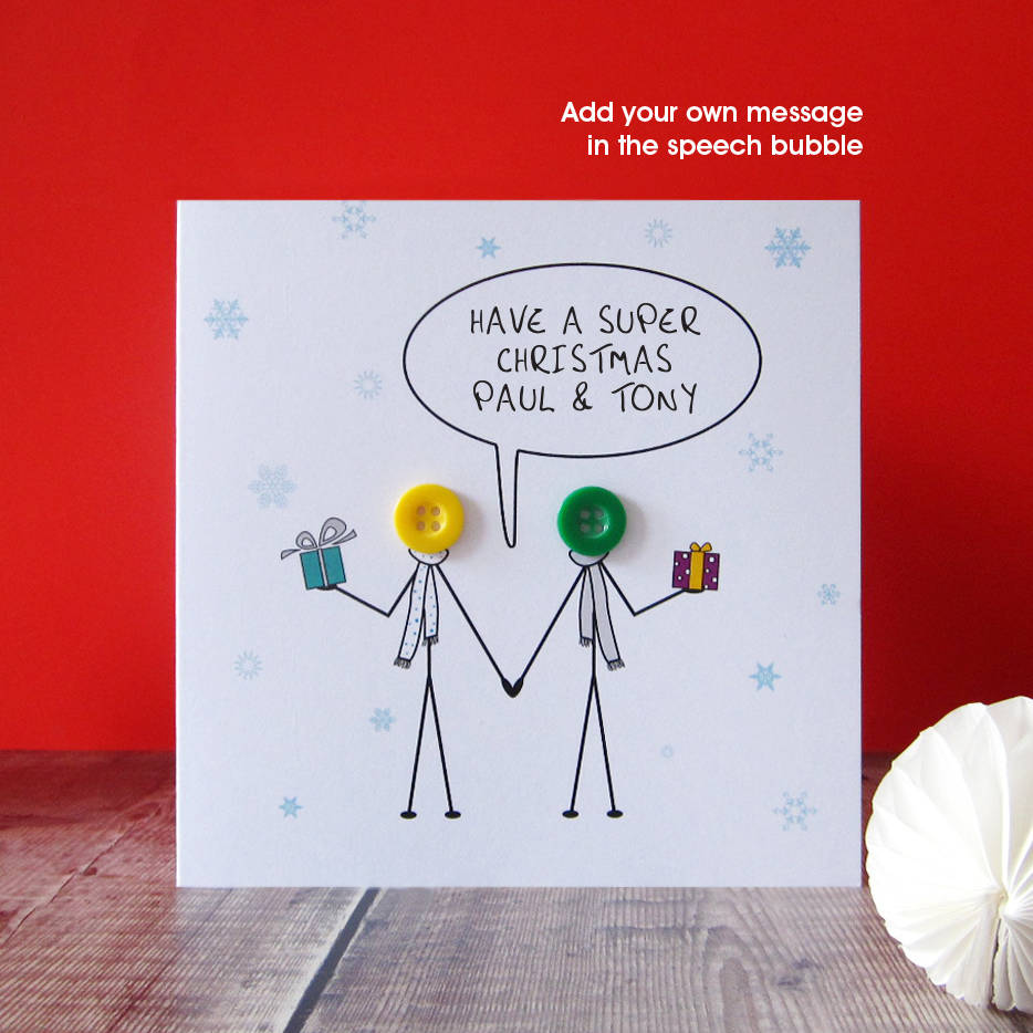 mr and mr christmas button card by mrs l cards | notonthehighstreet.com