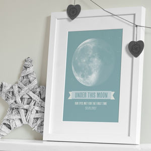 'Under This Moon' Personalised Print - first father's day
