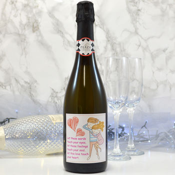 Personalised Prosecco With Love Cartoon Label