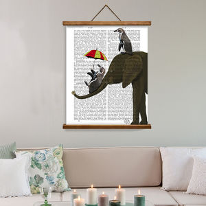 Elephant Print, Elephant And Penguins - canvas prints & art