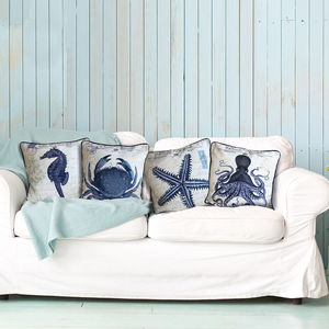 Seaside Postcard Nautical Cushion Collection - bedroom