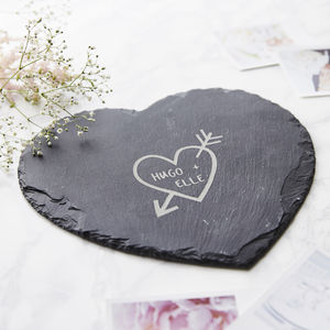 Carved Heart Slate Personalised Cheese Board - tableware