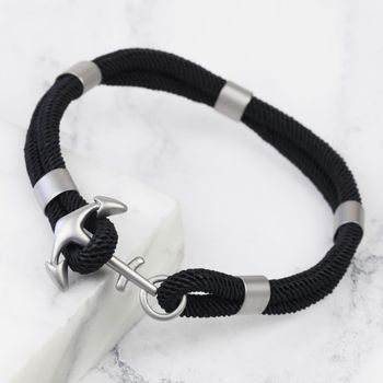 Men's Black Rope And Anchor Bracelet