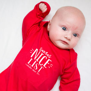 Personalised Santa's Nice/Naughty List Babygrow - baby's first christmas