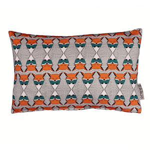 Regimented Fox Pattern Orange And Teal Oblong Cushion