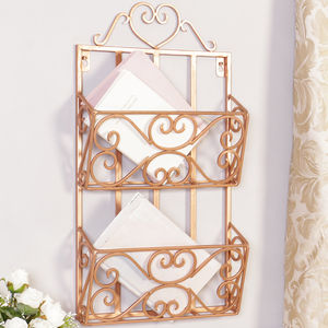 Sale Rose Copper Two Tier Magazine Rack - magazine racks