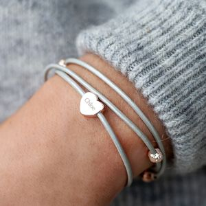 Alessia Heart Charm Leather Bracelet - gifts for teenagers