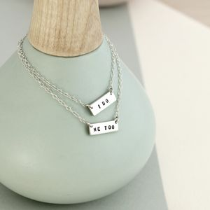 Personalised Friendship Names Bar Necklace Set - necklaces & pendants