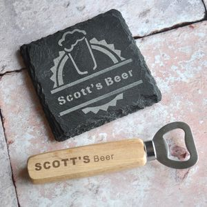 Personalised Coaster And Bottle Opener Beer Gift Set