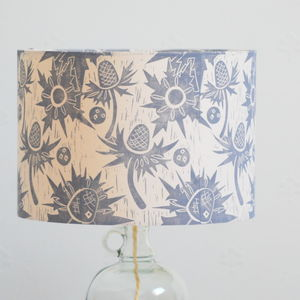 Sea Holly Lampshade Block Printed By Hand - lampshades