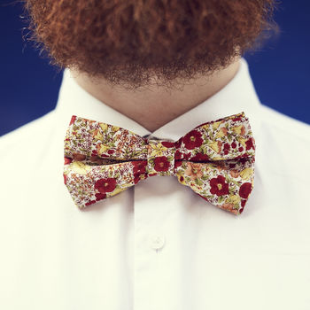 Orange And Red Floral Bow Tie