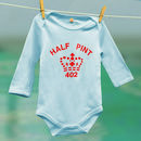 half pint babygrow long sleeves blue and red