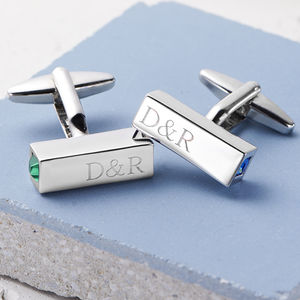 Birthstone Couples Personalised Bar Cufflinks - whatsnew